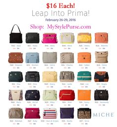 Leap year sale! Miche Primas $16 while supplies last - ends midnight 2/29/16. Shop MyStylePurses.com