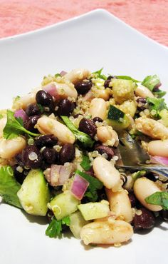 black and white bean quinoa salad quick vegetarian and vegan high protein salads