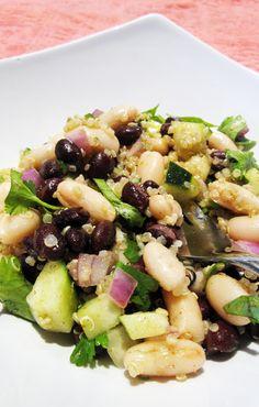 black and white bean quinoa salad quick vegetarian and vegan high protein salads