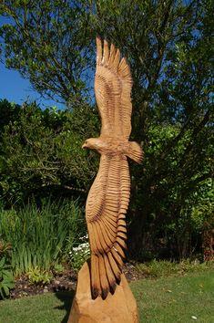 Dan Cordell - amazing eagle sculpture from on trunk. Chainsaw Wood Carving, Wood Carving Art, Wood Carvings, Chain Saw Art, Tree Carving, Tree Trunks, Tree Sculpture, Wood Creations, Tree Art