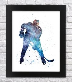 Hockey player watercolor art Hockey player printable by Recyman Boys Hockey Bedroom, Hockey Room, Hockey Girls, Art And Illustration, Hockey Decor, Hockey Crafts, Hockey Posters, Diy Wall Art, Printable Wall Art