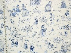 Winhall children's fabric blue toile pig frog cat mouse- destash 1 1/2 yds from Brick House Fabric: Novelty Fabric