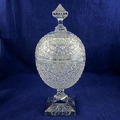 Vintage/ Antique Egg Shape Cut Crystal Lidded Candy Jar Hob Star Pattern