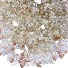 Onlyfire Reflective Fire Glass for Natural or Propane Fire Pit Fireplace or Gas Log Sets 10-Pound 1/4-Inch Platinum