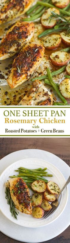 One Sheet Pan Rosemary Chicken + Potatoes & Green Beans - ALL cooked on one sheet pan and ready in under an hour Healthy Dinner Ideas for Delicious Night & Get A Health Deep Sleep One Pot Meals, Easy Meals, Healthy Weeknight Dinners, Sheet Pan Suppers, Chicken Potatoes, Roasted Potatoes, Rosemary Potatoes, Steamed Potatoes, Roasted Vegetables