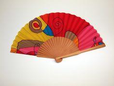 Handpainted Silk hand fan-Wedding hand fan- Silk hand fan-Bridesmaids- Spanish hand fan - Red Hand fan - Yellow Hand fan - Pink Hand fan by gilbea on Etsy