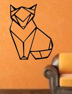 Origami Fox Geometri Wall Decal Sticker Art Decor Bedroom Design Mural fox wolf Vinyl