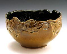 John Bauman Stoneware Oak Leaf and Acorn Bowl