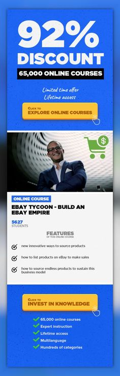 eBay Tycoon - Build an eBay Empire Home Business, Business  How to Source, List, & Profit off Endless Products eBay is one of the top eCommerce platforms for a reason. Anyone can make sales on eBay because there's so much traffic on the site. If you have something to sell, chances are there's literally someone looking for it right now on eBay. So the question becomes how & where do you source the...