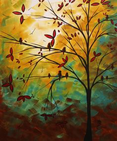 Megan Aroon Duncanson (MADART) has a distinct flair for modern/contemporary art. Her style and use of color are unmistakable. Bright, rich color and abstract composition draw the viewer in for a long Decoration, Art Decor, Poster Prints, Art Prints, Posters, Botanical Art, Les Oeuvres, Landscape Paintings, Landscape Quilts