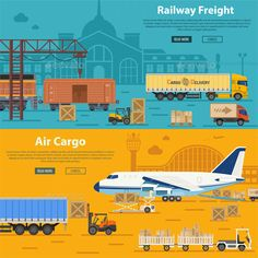 Buy Railway Freight and Air Cargo by -TAlex- on GraphicRiver. Railway Freight and Air Cargo Banners in Flat style icons such as Truck, Plane, Train. Vector for Brochure, Web Site . Freight Transport, Rail Transport, Graphic Illustration, Vector Illustrations, Vector Graphics, Royalty Free Images, Transportation, Logo Design, Graphic Design
