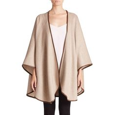Sofia Cashmere Leather-Trimmed Cashmere Cape featuring polyvore, fashion, clothing, outerwear, apparel & accessories, taupe, sofia cashmere, pink cape, pink cape coat, cape coat and cashmere cape