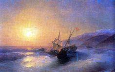 Capture Turkish Kocherma: 1880   Ivan Aivazovsky Russian Maritime Painter 1817 - 1900
