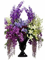 26 best hotel style silk flower arrangements images on pinterest 71 large artificial lilyorchid wisteria and delphinium silk flower arrangement in resin vase elegant arrangements this elegant arrangement of silk mightylinksfo
