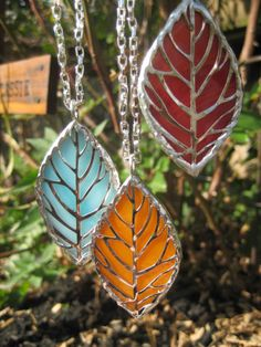 Stained Glass Fall Leaves Necklace by TheRecycledCatholic on Etsy, $12.99