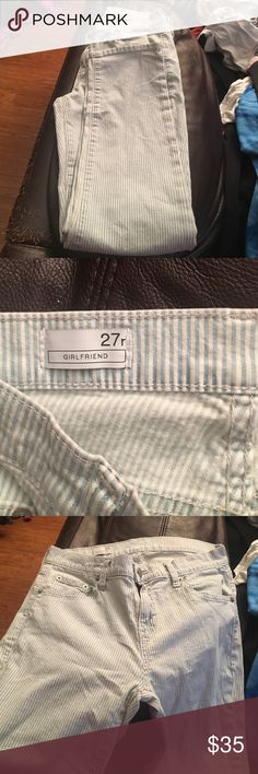 Gap 1969 striped Girlfriend jeans 27r or 4 This is a pair of the Gap 1969 Girlfriend jeans in a 24 regular or 4.  These are cute light blue and white stripe.  Only worn a few times still in great condition. Gap Jeans Skinny