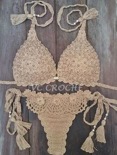 Sådan fremstilles hæklet bikini: Trin for trin + grafik Crochet Lingerie, Crochet Bra, Crochet Bikini Pattern, Crochet Bikini Top, Crochet Woman, Crochet Clothes, Mode Du Bikini, Haut Bikini, Diy Crafts Crochet