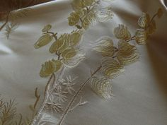 """100% SILK LAMPAS LILY OF THE VALLEY """"WHEAT"""" GOLD"""