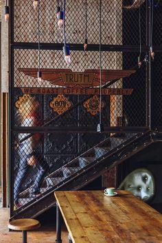 interior design architecture sports bar boutique pub masculine dark industrial raw restaurant café bistro inspiration