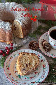 This delicious holiday cake carries a quarter of the calories from fat by substituting sour cream for canola oil.  #christmas #dates #cake #apple #holiday #cinnamon