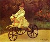 Jean Monet on his Hobby Horse by Claude Monet in oil on canvas, done in Now in the Metropolitan Museum of Art. Find a fine art print of this Claude Monet painting. Pierre Auguste Renoir, Edgar Degas, Claude Monet, Monet Paintings, Impressionist Paintings, Mechanical Horse, Artist Monet, Horse Posters, Hobby Horse