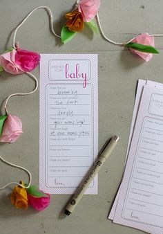 "Cute baby shower idea. Each guest fills our ""their wishes"" for the baby"