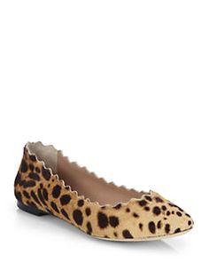 Chloe - Leopard-Print Calf Hair Ballet Flats