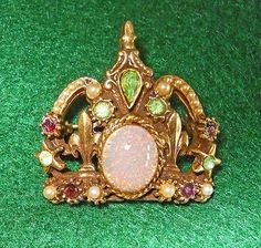 Antique18K Gold Brooch Victorian Pin Opal Seed Pearls Crown Statement Royal