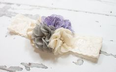 Lavender Dusk - headband in lavender/dusty purple, grey and cream by SoTweetDesigns on Etsy