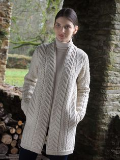 Ladies Shawl Aran Cardigan by Natallia Kulikouskaya for AranCrafts of Ireland