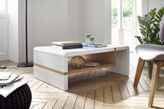 Brianna Coffee Table In Matt White And Knotty Oak Shelf look extraordinary when placed in the middle of your living room. Rectangular Coffee table made of MDF with Knotty Oak. Flat table top give a. Narrow Coffee Table, Mirrored Coffee Tables, Coffee Tables For Sale, Coffe Table, Coffee Table With Storage, Modern Coffee Tables, Table Cafe, Contemporary Side Tables, Oak Shelves