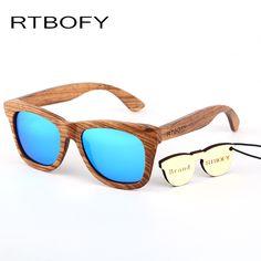 92739adf60c RTBOFY Wood sunglasses men zebra wood sun glasses 100% purely hand made  With UV400 polarized