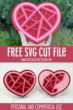 Valentines Day Decorations, Valentine Crafts, Valentine Day Cards, Holiday Crafts, Geometric Heart, Free Svg Cut Files, Svg Cuts, Cricut, Easel