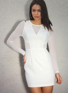 White Mesh Cutout Dress,  Dress, white  cutout dress  mesh  long sleeve, Chic  #white #mesh #cutoutdress #longsleeve #chic #partydress