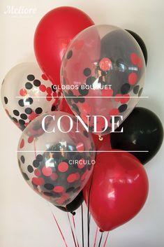Bolsa con 6 Globos de colores (Rojo y Negro) y 3 Globos rellenos de Confeti de Círculo (rojo y negro). #decoracion #regalos