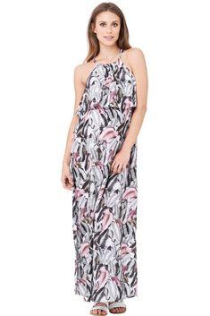 ae78c85d34955 Kresna Halter Maternity & Nursing Dress (Multi Print)