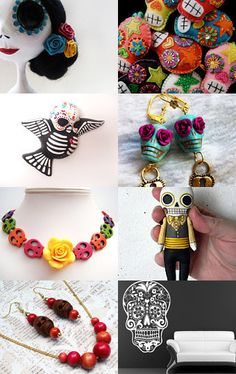 Dia de Los Muertos Etsy Treasury including necklace by polishedtwo.etsy