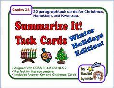 FREE Summarizing Task Cards for Christmas, Hanukkah, and Kwanzaa