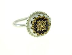 Bobble edge vintage button ring, silver