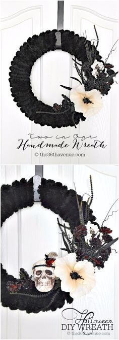 DIY Halloween Decorations - Halloween DIY Wreath - Best Easy, Cheap and Quick Halloween Decor Ideas and Crafts for Inside and Outside Your Home - Scary, Creepy Cute and Fun Outdoor Project Tutorials http://diyjoy.com/cheap-diy-halloween-decorations
