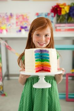 Rainbow Cake!!! We are going to do matching M&Ms around the edge with a birthday message on top!