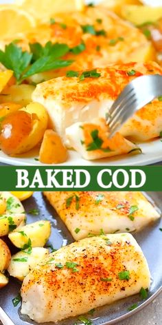 Easy baked cod with lemon, olive oil, salt and cayenne pepper. One of the best cod recipes baked in the oven. Moist, juicy with 5 mins prep time. So good! Best Cod Recipes, Baked Cod Recipes Healthy, Baked Tilapia Recipes, Recipe For Baked Fish, Recipe For Cod Fish, Baked Haddock Recipes, Easy Baked Fish Recipes, Grilled Fish Recipes, Gastronomia