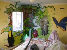 Awesome mural for a jungle room! Wall Murals Bedroom, Custom Wall Murals, Jungle Bedroom, Murals For Kids, Kids Bedroom Designs, Jungle Theme, Mural Painting, Girls Bedroom, Dream Bedroom