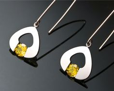 Argentium silver and citrine earrings designed by David Worcester for VerbenaPlaceJewelry.Etsy.com