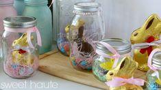 Easter Bunny Mason Jars golden decor party ideas- SWEET HAUTE