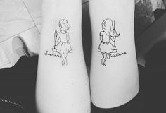 101 Sister Tattoos That Prove She's Your Best Friend in the World - Pin for Later: 54 Sister Tattoos That Prove She's Your Best Friend in the World Sister Swing - Small Sister Tattoos, Sibling Tattoos, Matching Sister Tattoos, Small Tattoos For Guys, Tattoo Small, Fake Tattoos, Trendy Tattoos, Tatoos, Tattoo Soeur