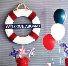 I like the Welcome Aboard sign, and i like the idea of giving people bubbles to play with