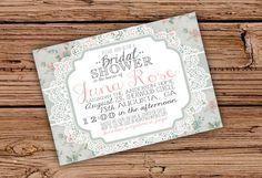 Vintage Floral and Lace Bridal Shower/Baby Shower Invitation. $20.00, via Etsy.