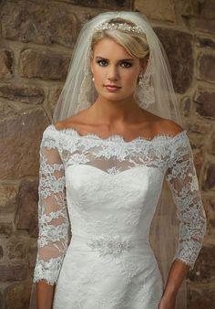 lace a-line off the shoulder 3/4 length sleeves court train wedding dress - dress2014.com