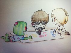 Little artists! (Look at what Deadlox is drawing ;)